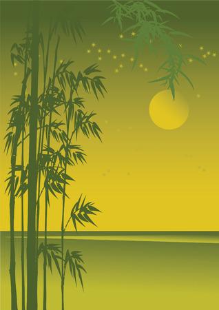 Asian night landscape with golden moonlight. Vector