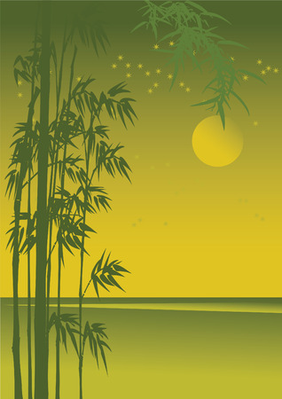 ornamental plant: Asian night landscape with golden moonlight.