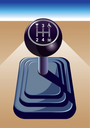 Auto versnelling doen als je drinkt niet rijden.