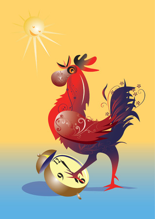 morning  cock: Cock with alarmclock in competiton. Illustration