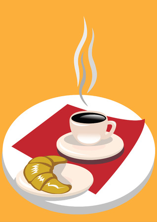 French breakfast with fresh croissant and black coffee. Vector
