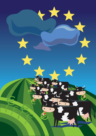 unification: Cows on the european field of agriculture. Illustration