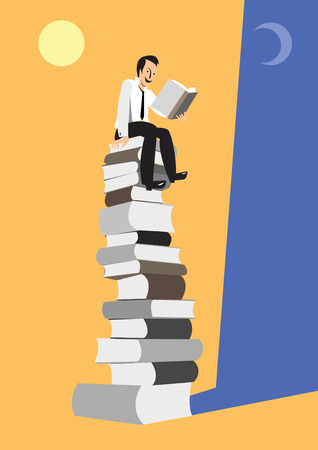 Young man so interessed by reading. Stock Vector - 10905542