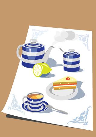 teaset: Nice still-life illustrated tea time.
