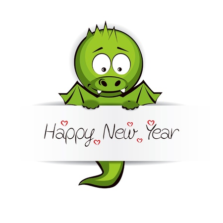 Cute Baby Dragon with message Happy New Year Vector
