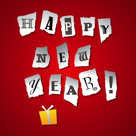 Ripped paper on red background with Happy New Year greetings Vector