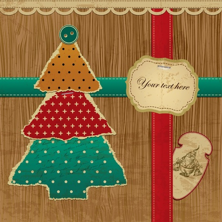 Ripped Vector Christmas tree - Greeting Card Stock Vector - 10905562