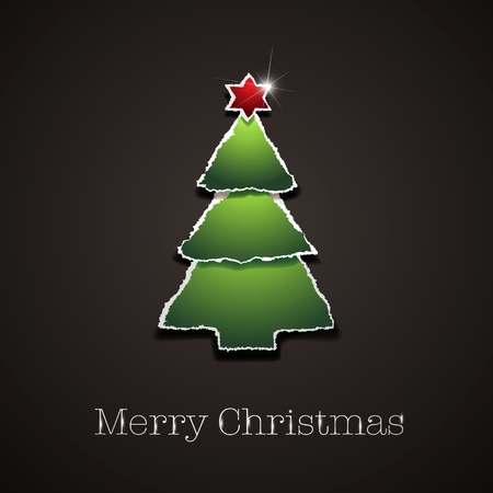 ripped paper: Ripped Vector Christmas tree - Greeting Card