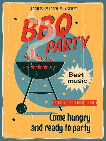 barbecue ribs: Cartel del partido del Bbq