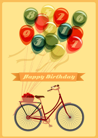 Retro Birthday card with Bicycle Vector