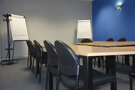empty modern classroom or meeting room with flip boards photo
