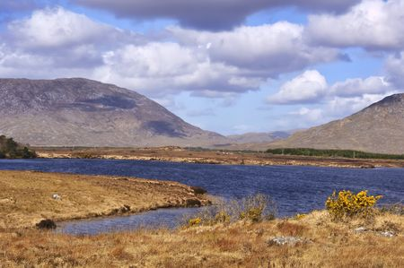 bens: fishing and hiking landscape at winter in ireland