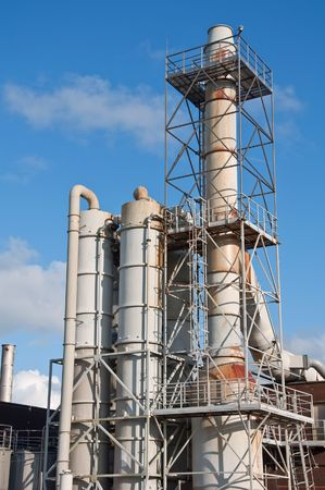 catalytic: industrial Chemical plant outside pipes and vents