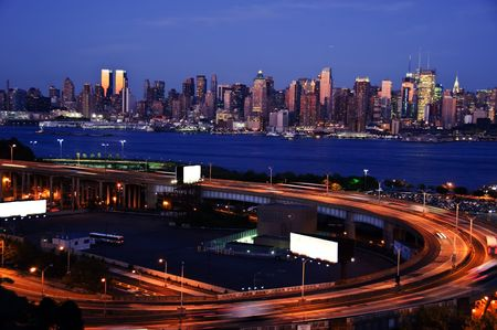 night time capture of midtown new york, with white advert space Stock Photo - 5472544