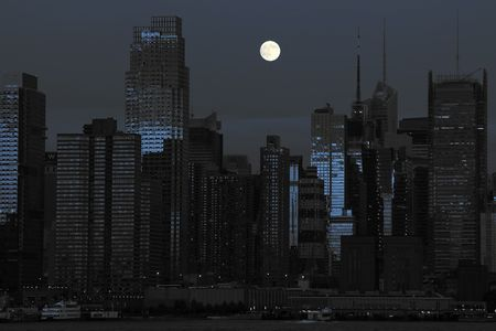 photo new york cityscape in black and blue photo
