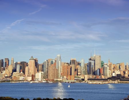 afternoon vibrant capture of new york midtown over hudson photo