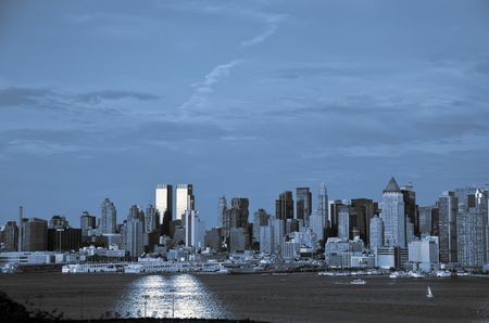 new york city skyline in blue and black tones photo