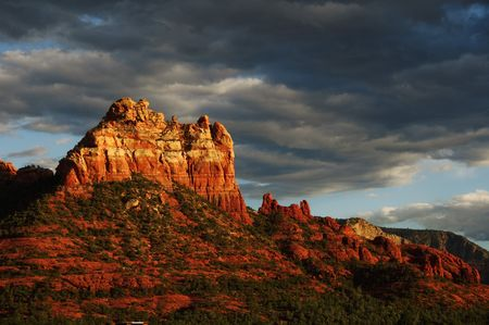 sedona: Landscape sunset evening of red rock at Sedona Arizona,storm coming in