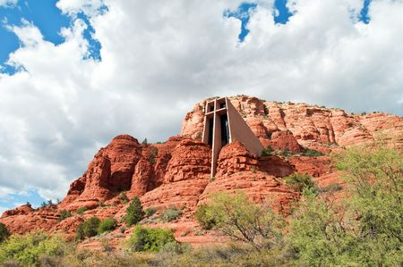 coconino national forest: scenic red stone landscape of sedona with holy chapel, in arizona