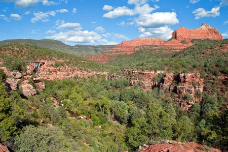 coconino national forest: scenic red stone landscape of sedona with bridge, in arizona Stock Photo