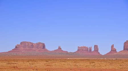 navajo land:  Blue skies over Monument Valley in Utah