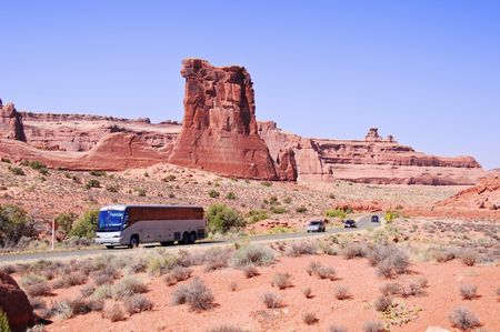 Blue skies and Sunny day at Arches Canyon, bus tour,Utah. USA photo
