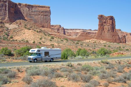 Blue skies and Sunny day at Arches Canyon, RV, Utah. USA