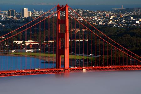 san francisco cityscape and golden gate bridge photo