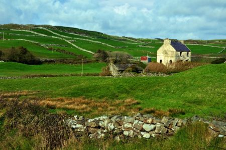 irish countryside: photo capture of a rural farm house in ireland