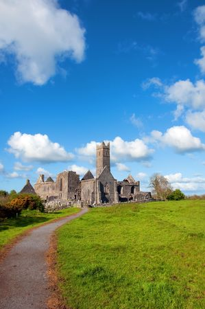 quin: vibrant scenic celtic architecture in the west of ireland Stock Photo