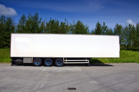 conditioned: white air conditioned truck trailer for haulage transporting