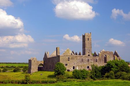 quin: famous quin abbey in county clare, ireland Stock Photo