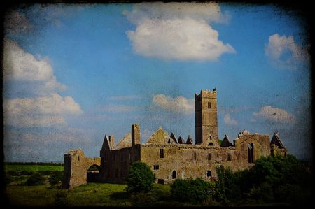 quin: photo grunge texture quin abbey, famous in county clare, ireland Stock Photo