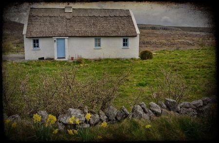 thatched cottage: photo grunge texture rural irish cottage landscape Stock Photo