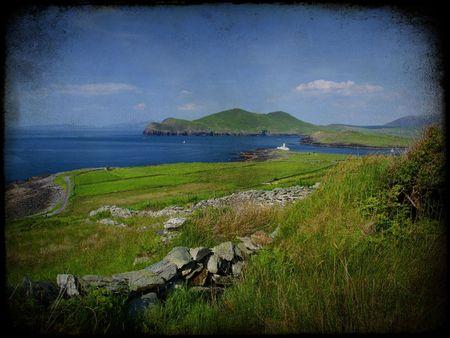 photo grunge texture beautiful scenic irish landscape  photo