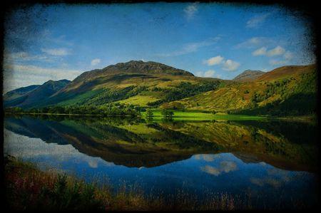 pano: photo grunge texture beautiful scenic irish landscape