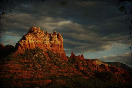 coconino national forest: Landscape grunge texture sunset evening of red rock at Sedona Arizona,storm coming in