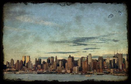 photo grunge new york cityscape skyline, usa photo