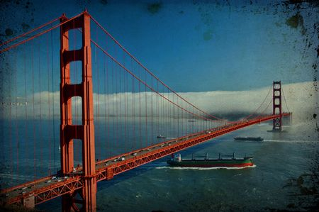 photo grunge texture  of the golden gate bridge in san francisco, usa photo