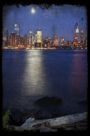 grunge new york cityscape capture at night over hudson photo