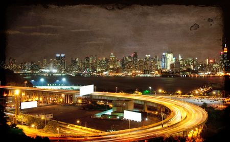 vibrant grunge night time nyc cityscape,advert space photo