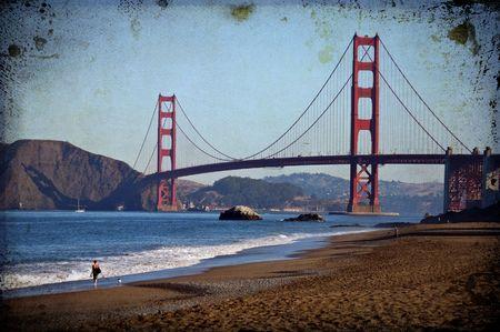 grunge texture golden gate bridge, san francisco, ca, usa photo
