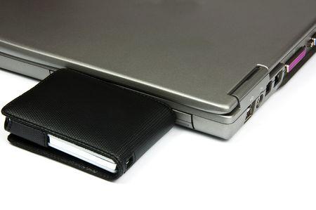 photo laptop with external usb hard disk photo
