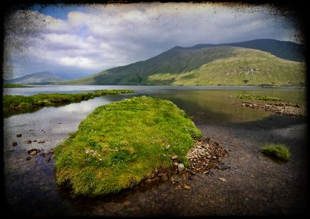 bens: grunge landscape fishing and hiking trail in ireland Stock Photo