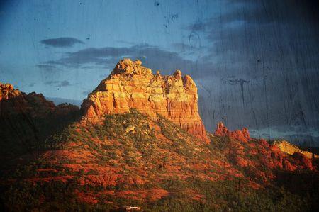 coconino national forest: Landscape grunge sunset evening of red rock at Sedona Arizona Stock Photo