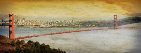 panoramic grunge golden gate bridge san francsico Stock Photo - 6131632
