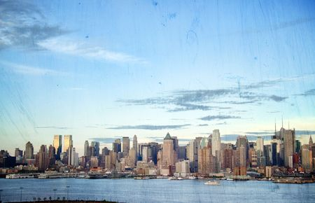 photo grunge new york cityscape skyline, usa photo