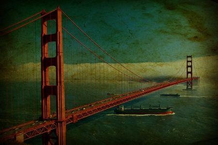 photo grunge of the golden gate bridge in san francisco, usa photo