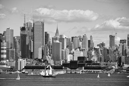 hudson river: new york city old large sailing ship in hudson Stock Photo