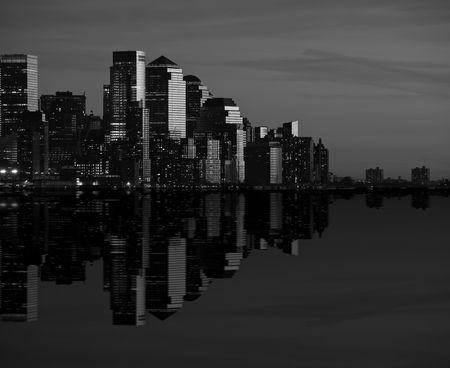 new york cityscape skyline at night, nyc, usa photo